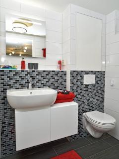 Modern, schoon en doelmatig! Deze lichte badkamer voldoet aan alle eisen. Een fohn is aanwezig.