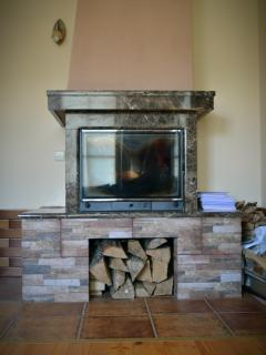 Fireplace from a natural stone