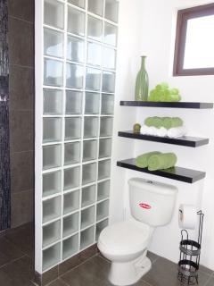 Shower in master bedroom ensuite. Tiled shower walls.