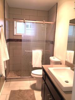 Beautiful new master bathroom with custom tile.