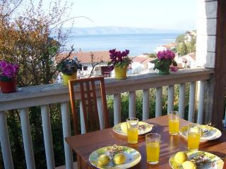 Sea view 2 bed apt 150m from beach, Jelsa