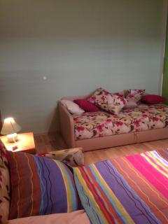 Blue apartment double bed, single bed