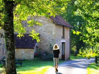 Entrance to the property. A guest walks down our walnut tree lined driveway on the way to the gites