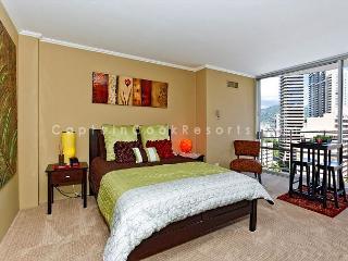 Stylish studio, kitchen, city/mtn views, close to everything!  Sleeps 2., Honolulu