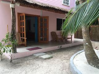 New Beach Front one bedroom cottage with AC, pool access, dock and beach., Caye Caulker