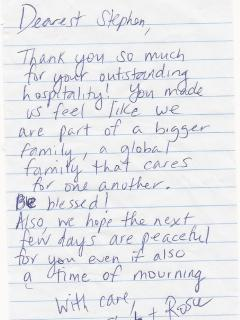 A highly appreciated 'Thank You Note' from most recent guests. Discovered after guests checked out.