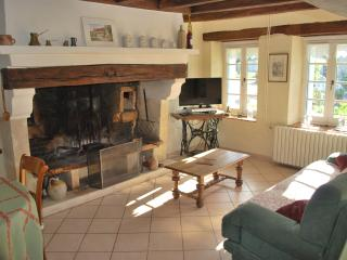 Living room with fire place - Le Four à pain - Cottage from XVIII century