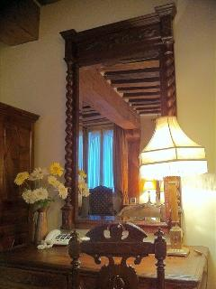 Desk niche, antique desk and mirror