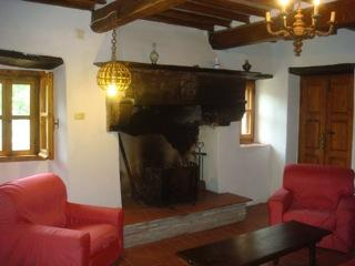 The beautiful Etruscan fireplace in the living room.