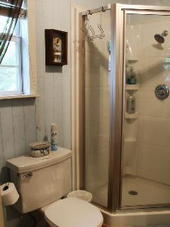 The bathroom features a walk-in shower...