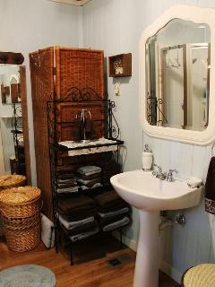 The bathroom....linens are provided...
