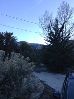 Snowy view from driveway of Mt. Pinos