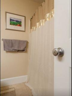 Full shower and bath tub in hallway bathroom
