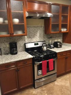 Granite counters, backsplash and gas range