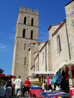 Church and market in Argeles village