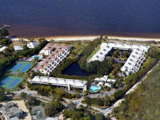 Aerial view of Lighthouse Points Condos (white roofs centre & right)