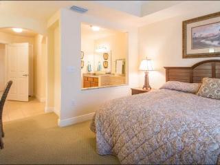 Downstairs bedroom with sunken tub bathroom