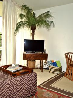 Living room has 40 inch flat screen TV and complimentary cable and wifi.