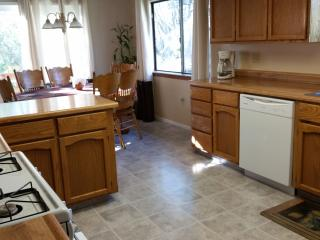 Spacious kitchen, room for a large group to cook.