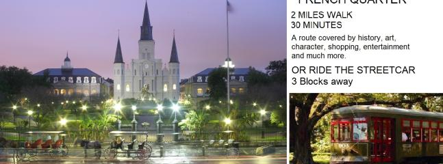 To the French Quarter, 2 miles, 30 minute walk by the amazing Arts District