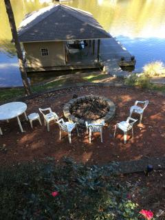 Fire pit beside the lake.