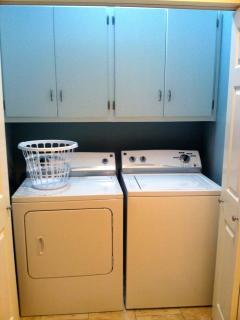 A washer and dryer are located in a closet in the kitchen.
