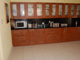 Kitchen which includes stove, oven, large fridge, dishwasher, table and chairs  and lots of cupboard