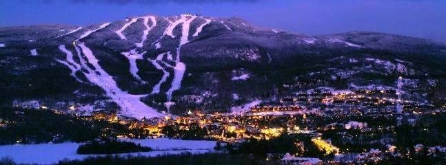 A  view of the mountain at night.