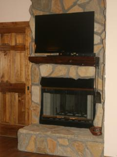 Double sided wood burning fireplace & we provide a limited amount of free firewood.