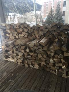 Firewood on Private Porch for our real fireplace