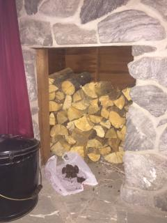 Fireplace wood storage inside apartment