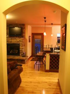 Hallway, fireplace, & rear entrance.