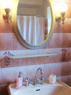 The main bathroom with buth tub.