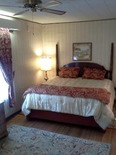 Spacious master bedroom with walk-in closets and plush King size bed.