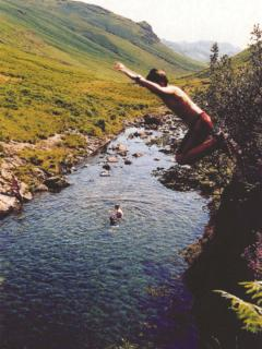 Jumping into the crystal clear waters of the River Esk, perfect way to cool down on a Summer's day!