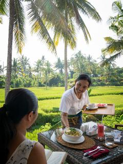 Breakfast in villa served by private maid