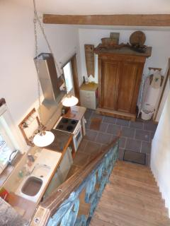 The kitchen from upstairs