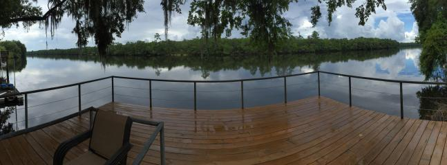 Panoramic View of deck and river from Yard