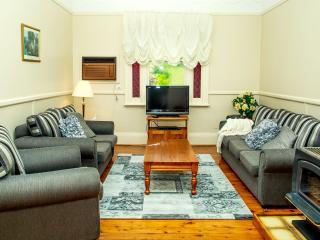 Lounge room with log fire