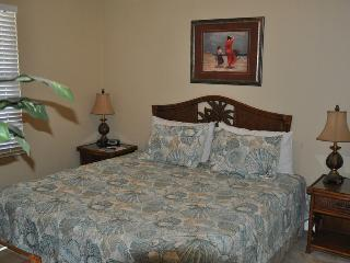 Guest bedroom with King bed. T.V and DVD player
