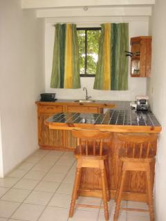 Std. studio kitchenette, cooker, bar size fridge, toaster and kettle (microwaves if available)