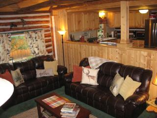 Spacious living room with vaulted ceiling, perfect to visit with family and friends