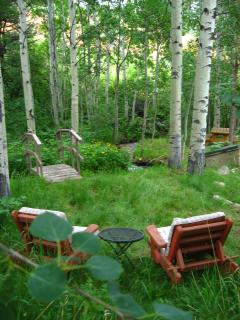 Creekside acre of property, with hammock, sitting areas, picnic table