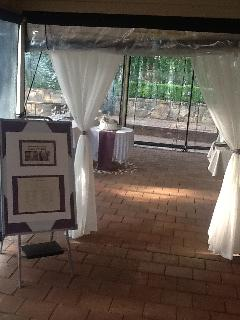 Wedding-weatherproof blinds for undercover area in background