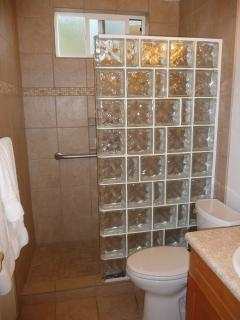 Tile bath with walk in shower