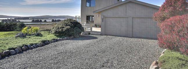 Panoramic view of our home with ocean, bay, and Bodega Head in background.