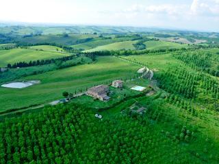Romantica camera con vista sulle colline senesi