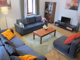 Apartment1- living room with smart TV with international channels and a DVD player.
