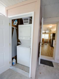 Utility room with washer and dryer, ironbound and iron