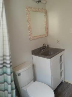 New bathroom with tub and shower
